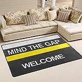 XiangHeFu Alfombra para salón, Comedor, Dormitorio, felpudos Decorativos, diseño con Texto en inglés Mind The Gap Welcome 2'7'x1'8' (31 x 20 Pulgadas), Image 452, 60x39 Inches