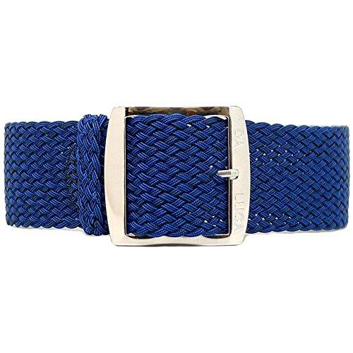 DaLuca - Cinturino per orologio in nylon intrecciato, con fibbia lucida, 22 mm