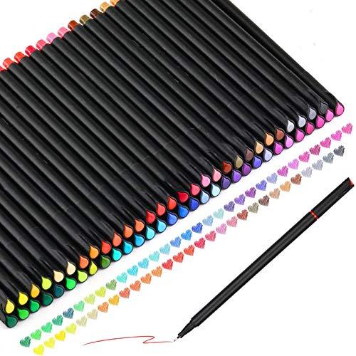 KATELUO Rotuladores de punta fina, 60 Color Fineliner Plumas Set, 0.4 mm Pluma de Punta de fieltro para Bullet Journal Note Taking Adult Coloring Books Pintura Dibujo Oficina de Arte
