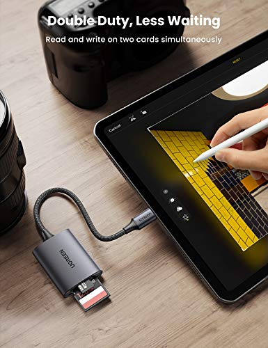 UGREEN USB C Kartenleser SD/Micro SD Card Reader Aluminium Type C Kartenlesegerät kompatibel mit MacBook Pro/MacBook Air/iPad Pro 2020/2018, Surface Book 2, Samsung S21/S20, Huawei P40/P30 usw.