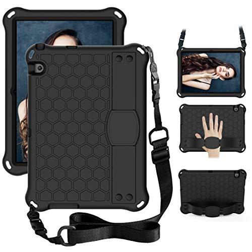 GOZOPO Kinder-Hülle kompatibel mit Huawei T3 10 (9,6 Zoll) AGS-W09 AGS-L09 AGS-L03 [nicht für MediaPad T5] mit Schultergurt & stoßfester Schutzhülle (schwarz)