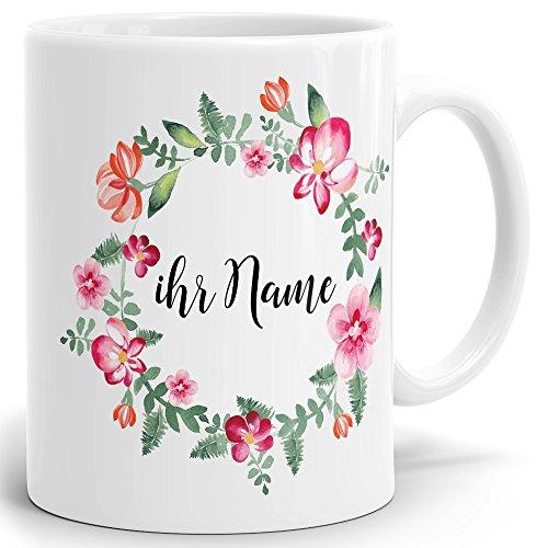 Drucksaal Namenstasse-Tasse-Becher-Kaffeetasse-mit Name-Namen individuell und persönlich Motiv Bunte Blumen