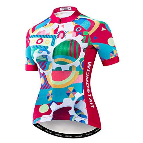 DIMPLEYA Frauen-Radtrikot, Mountainbike Jersey-Tops Straßen-Fahrrad-Bekleidung MTB Tops Sommer-Kleidung Atmungsaktiv Schnell Trocknend Durchgehender Reißverschluss,Rot,XL