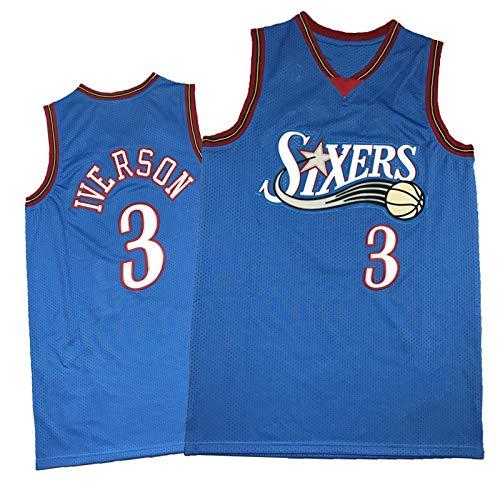 FGRGH 76ers #3 Iverson - Camiseta de baloncesto para hombre, color azul retro de secado rápido y transpirable, camiseta de equipo de apoyo S (55 ~ 65 kg)