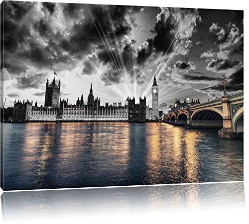 wunderschöne Westminster Abbey mit Big Ben schwarz/weiß Format: 120x80 auf Leinwand, XXL riesige Bilder fertig gerahmt mit Keilrahmen, Kunstdruck auf Wandbild mit Rahmen, günstiger als Gemälde oder Ölbild, kein Poster oder Plakat