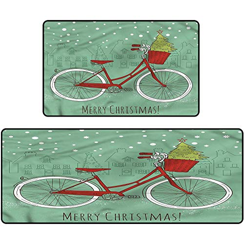 Christmas Printed Floor Carpet Retro Bike Xmas Trees Non-Slip Floor Mat for Entry Patio 20'x63'+20'x31'