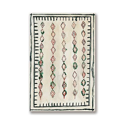 Marokkanischer Teppich Boho Wandbild Abstrakt Neutral Eklektische Leinwand Kunst Wanddekoration 30x40 cm