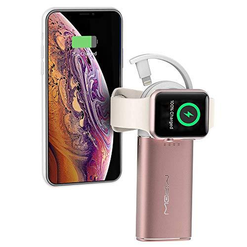 MiPow Apple Watch Power Bank und Ladestation mit Magnet-Dock für Apple Serie 5, 4, 3, 2 und 1 und mit Lightning Anschluss für iPhones, Rosegold, 6000mAh