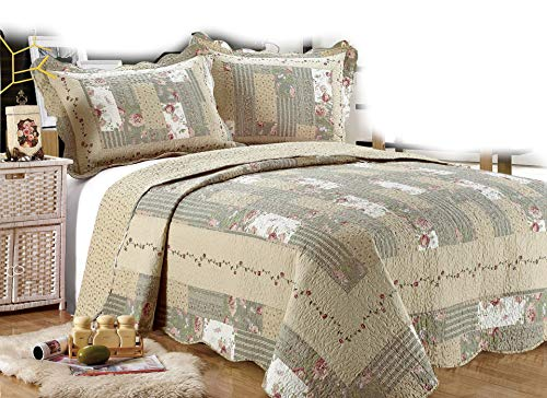 All for You 3-Piece Reversible Bedspread/ Coverlet / Quilt Set-Beige, Pink, Burgundy and sage Green Prints, 100'x110', (Larger King with King Size Pillow Shams)