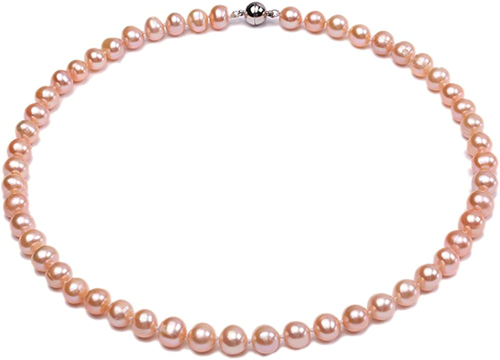 JYX Pearl Strand Necklace AA 8-9mm Natural Round Freshwater Cultured Pink Pearls Necklace 18