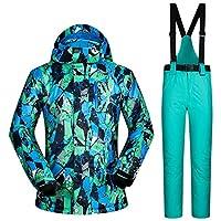 スキー服 防水服男性スキースーツ防風スキージャケットとパンツ男性の冬の暖かいスキーやスノーボードスーツジャケット+パンツ スキースーツ (Color : F, Size : M)
