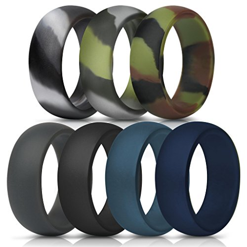 ThunderFit Silicone Rings, 7 Pack & Singles Wedding Bands for Men - 8.7 mm Wide (Green Camo, Grey Camo, Camo, Dark Grey, Black, Dark Teal, Navy Blue, 10.5-11 (20.6mm))