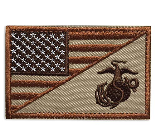 Patch USA American Flag w/ Marine Corps USMC Military Tactical Badge Patch Embroidered Patch 3' x 1.97' - Brown