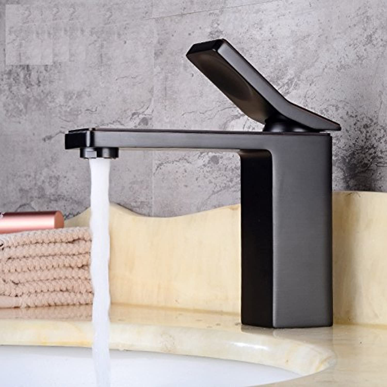 TS-nslixuan-Tap-Sink Tap Basin Faucet Fashion Noble Dark Black Square Single Hole Faucet