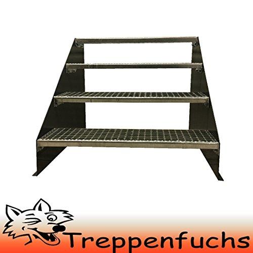 4 Stufen Standtreppe Stahltreppe freistehend Breite 100cm Höhe 84cm Anthrazitgrau/ Robuste Außentreppe / Stabile Industrietreppe für den Außenbereich