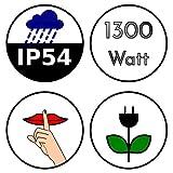 Brubaker Infrarot Heizstrahler IP54 Goldröhre Garten Terrasse Wärmestrahler 1300 Watt elektrisch Weiss