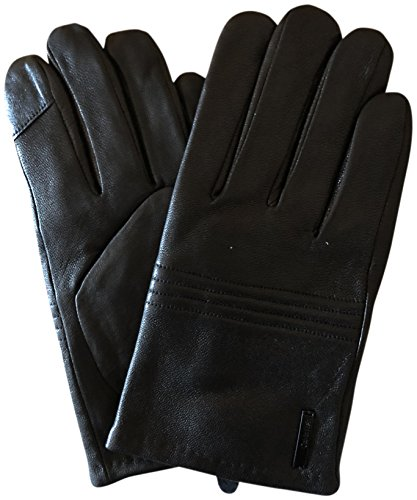 Calvin Klein Men's Touchscreen Leather Gloves Black Medium