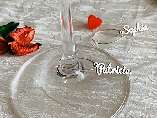 Personalisiertes Name Weinglas Charms Hochzeitsdrink-Tags Party Dekor Brautparty Lasergeschnittene Namen Handmade Charms Cocktail Bar Getränkemarker Stainless Steel Silber Edelstahl Junggesellin