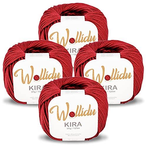Wollidu Kira - Juego de 4 ovillos de hilo de algodón 100% para tejer y ganchillo, 50 g, color rojo...