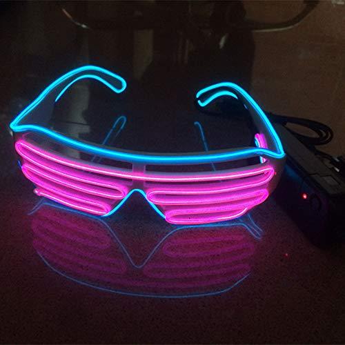 Sxspace Light Up LED Brille Neuheit Leuchtende Gläser Einstellbar EL Wire Neon Rave Brillen (Blau-Rosa)