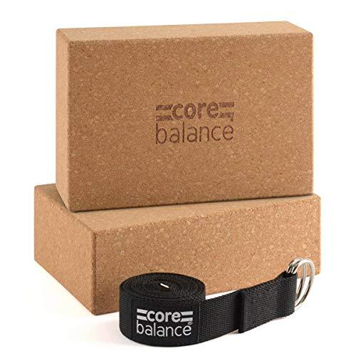 CORE BALANCE Set de 2 Bloques Yoga de Corcho con Correa. Ladrillos de Yoga Pilates para Principiantes y avanzados, firmes, 100% Natural. Profundiza y alarga Tus estiramientos, Mejora Estabilidad