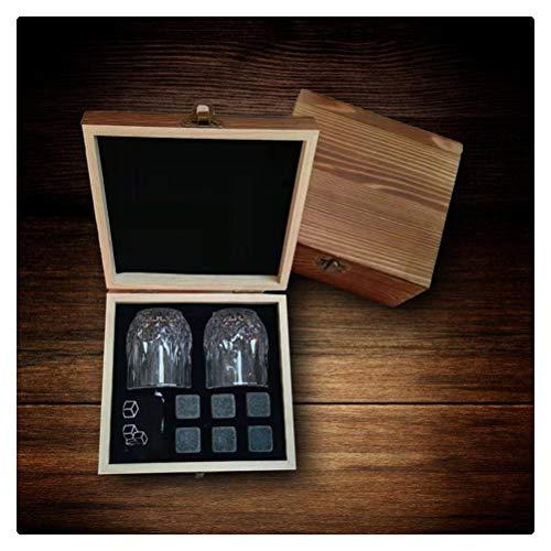 Aiglen Piedras de Whisky Juego de Piedras de Hielo de Whisky 2 Vasos con Caja de Madera Cubitos de Hielo para Vino, Cerveza, Bebidas, Cubo Enfriador, Utensilios de Bar (Size : 6pcs Whisky Stones)