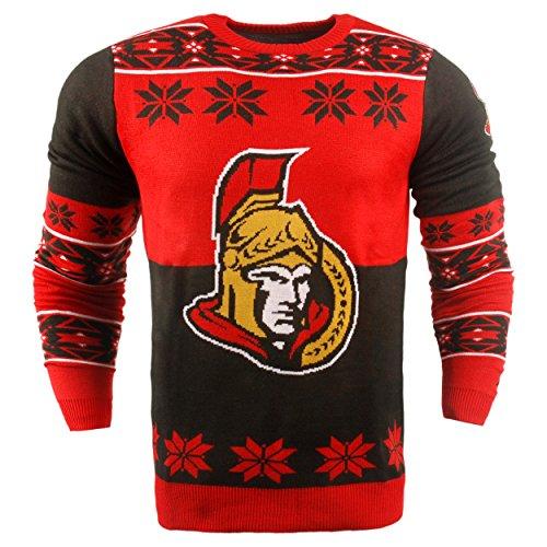 NHL Ottawa Senators Big Logo Ugly Crew Neck Sweater, Large, Team Color
