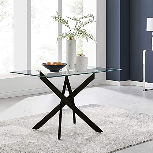 GOLDFAN Modern Glass Dining Table Rectangle Black Chrome Legs Kitchen Living Room Dining Table for Home Office Lounge