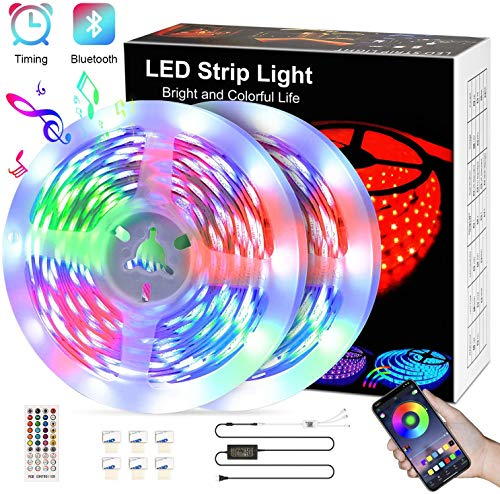 LED Strip 10M,kdorrku Bluetooth RGB LED Streifen Bänder Lichtleiste mit Fernbedienung,Sync Mit Musik Flexibel Selbstklebende Dimmable LED Lichterketten,5050 SMD LED Stripe Band Leiste für Dekoration