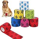 Veraing Selbstklebende Bandage für Haustiere, Elastische Kohäsive Haftbandage Kohäsive Fixierbinde für Hund, Pferd, Haustier, Wrap Klebeverband für Handgelenk Knöchel Finger (6 Rollen)