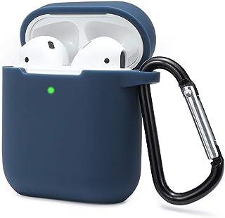ULAK Funda AirPods 2 /& 1 - Brillo Azul Cubierta Protectora de Cuero Brillante Estuche de Carga de Tapa Dura para Apple AirPods 1 /& 2 LED Visible en el Frente