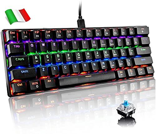 Tastiera Meccanica Gaming RGB 62 Tasti, 100% Anti-ghosting Switches Blu, Retroilluminazione RGB con 16.8 milioni AY601 Tastiera da Gioco per PC,Mac, COMPATTA