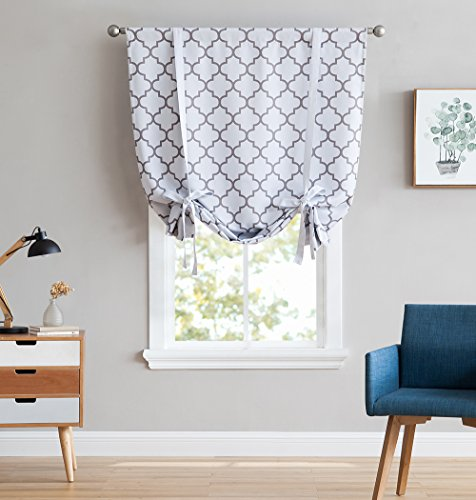 """HLC.ME Lattice Print Thermal Room Darkening Blackout Tie Up Balloon Shade Curtain for Small Windows - Platinum White/Grey - 46"""" W x 63"""" L"""