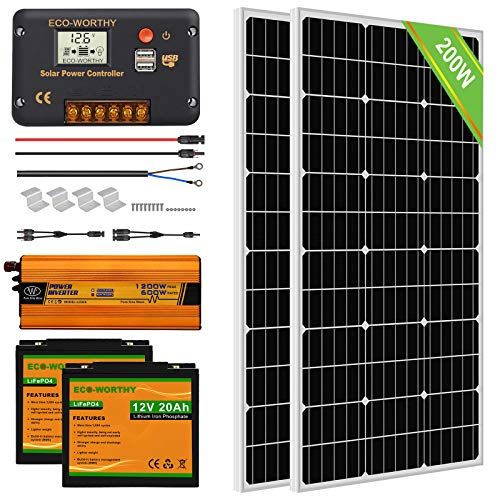 ECO-WORTHY Solar Power System for RV Off Grid Solar Panel Kit with Battery and Inverter: 2pcs 100W 12V Solar Panel + 20A Charge Controller + 2pcs 20Ah Lithium Battery + 600W Solar Inverter