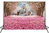 Muzi Photography Backdrop Beautiful Pink Woods Children Princess Girls Photo Booth Backdrop Studio Props with Flowers on The Floor in Spring 6.5x5ft W-314