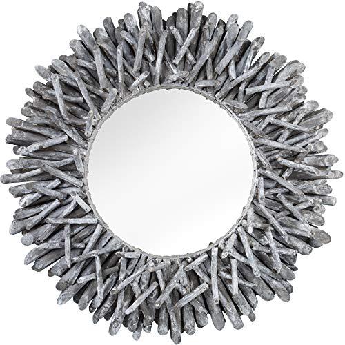 *Invicta Interior Außergewöhnlicher Teakholz Spiegel Riverside 80cm grau Treibholz Wandspiegel Rahmen aus Teakholz-Ästen Badspiegel*