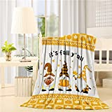 Beauty Decor Fleece Throw Blanket Plush Fuzzy Lightweight Throws 40'x 50' Thanksgiving Fall Pumpkin Gnome It's Fall Y'all Reversible Cozy Bedding Blanket for Couch,Sofa,Crib Stroller