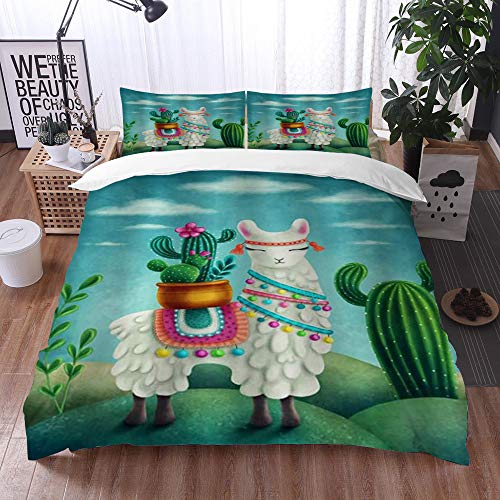 bedding - Duvet Cover Set, Cartoon Llama with Cactus Mexican Alpaca with Green Succulent Plant Artwork Wild Animal Theme,Microfibre Duvet Cover Set 220 x 240 cmwith 2 Pillowcase 50 X 80cm