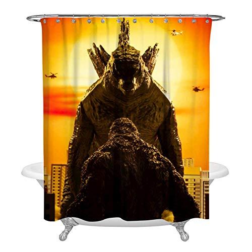 863 Sunset God-zilla vs Ko-ng Duschvorhang, dekorativer Badvorhang, modernes Badezimmer-Zubehör, maschinenwaschbar, 152,4 x 183,9 cm