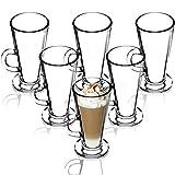 KADAX Latte Macchiato Gläser, 6er Set, 260 ml, Kaffeegläser mit Griff, Teegläser aus Glas, Trinkgläser für Kaffee, Tee, Cappuccino, Cocktail, Wasser, Saft, Eistee, Gläserset