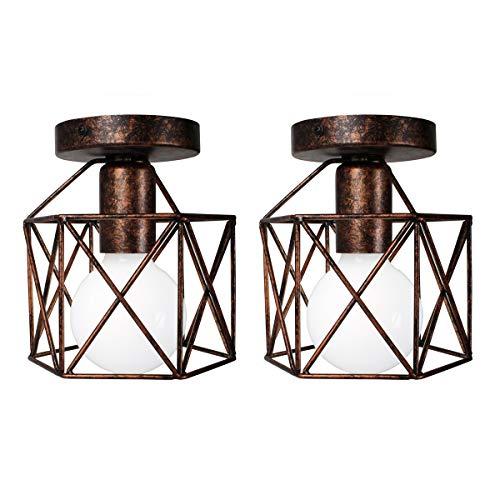 2 Pezzi Lampada da Soffitto Vintage Industriale, iDEGU Lampada a Sospensione in Metallo E27 Plafoniera a Forma di Gabbia Esagonale Geometrico Lampadario per Camera Ingresso Corridoio, 15 cm, Ruggine
