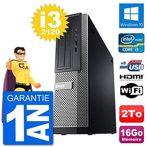 Dell PC 3010 DT i3-2120 RAM 16GB Disco duro 2TB HDMI Windows 10 WiFi (Reacondicionado)