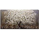 Boiee Art,24x48Inch Textured Hand Painted Canvas Paintings Silver Leaves Abstract Tree 3D Oil Paintings Landscape Artwork Modern Home Decor Wall Art Wood Inside Framed Hanging Wall Décor