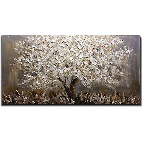 Boiee Art,24x48Inch 3D Hand Painted Silver Leaves Abstract Tree Canvas Paintings Landscape Artwork Texture Oil Paintings Modern Home Decor Wall Art Wood Inside Framed Hanging Wall Décor