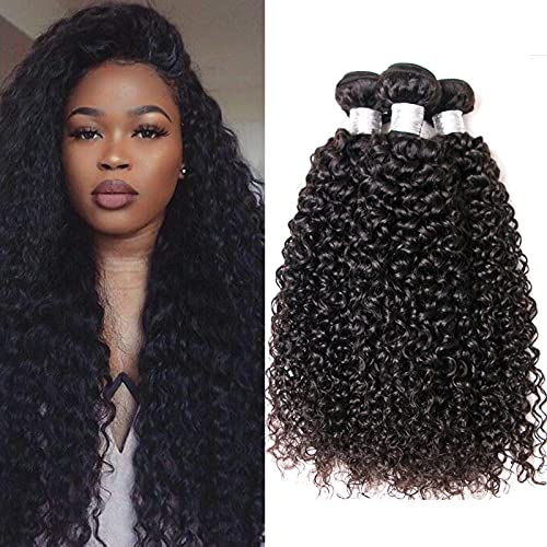 100% Human Hair Bundles Brazilian Virgin Hair Kinky Curly Hair Weave 3 Bundles Natural Color Unprocessed Remy Human Hair Extensions Same Direction Cuticle (22 24 26 inch)