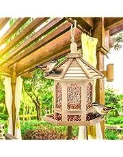 Mangiatoia per Uccelli Selvatici Giardino Pensile Decorazione Esterna Distributore di Cibo per Uccelli Nido di Uccelli Stazione di Alimentazione per Uccelli All'Aperto Alimentatore Automatico