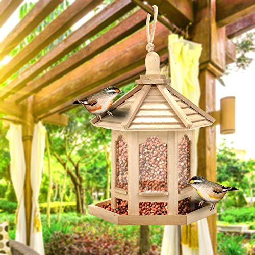 AMhomely Bird Feeding Station Wooden Bird Feeder Hanging for Garden Yard Decoration Hexagon Shaped With Roof, Traditional Wooden Bird Table Garden Birds Feeder Feeding Station Bird House