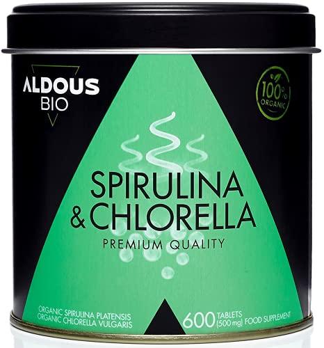 Chlorelle et Spiruline Bio Premium pour une durée de 6 mois | 600 comprimés de 500 mg | Régime végétalien - Coupe faim - Détoxifiant - Protéine Végétalienne - Sans additifs | Certificat biologique