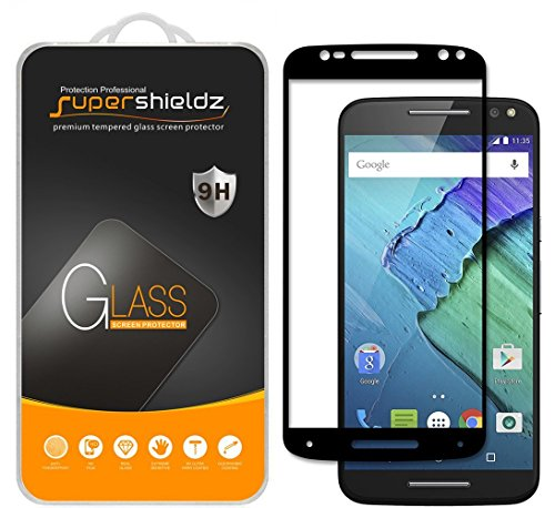 (2 Pack) Supershieldz Designed for Motorola (Moto X Pure Edition) Tempered Glass Screen Protector, (Full Screen Coverage) 0.33mm, Anti Scratch, Bubble Free (Black)