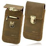OrLine Ledertasche geeignet für Alcatel Idol 3C. Gürteltasche mit Reißverschlusstasche Hülle Etui Tasche Hülle Cover Schutzhülle Handarbeit